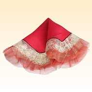 1920's Art Deco Red Silk & Lace Octagonal Flapper Handkerchief