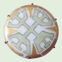 Art Deco 1920's Folk Art Hand-Painted Porcelain Brooch