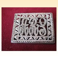 "Art Deco 1920's Sterling and Marcasite ""ARS"" Brooch"
