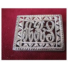 """Art Deco 1920's Sterling and Marcasite """"ARS"""" Brooch"""