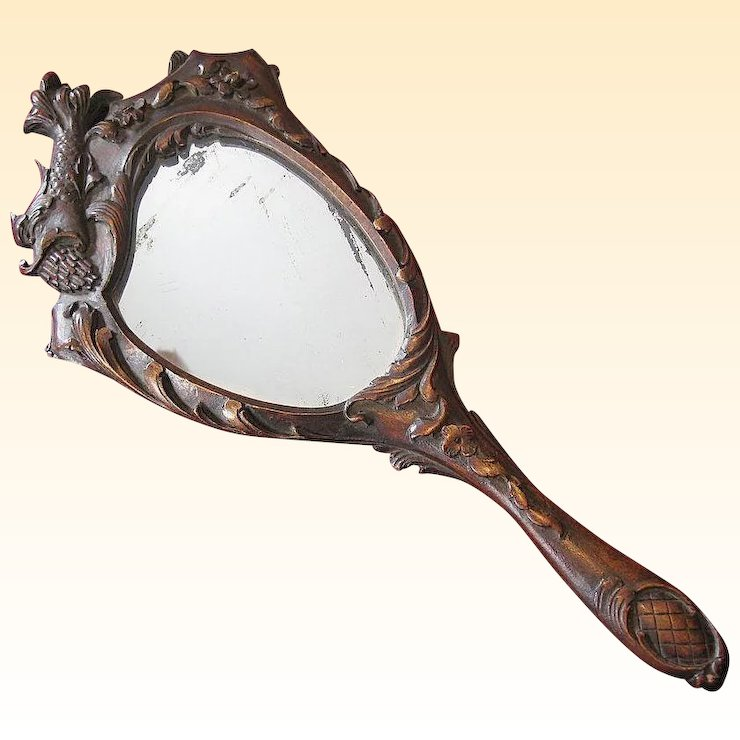 fancy hand mirror. 19th Century Hand-Carved Wooden Hand Mirror Fancy Hand Mirror U
