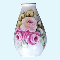 Hand-Painted Porcelain Rose Bud Vase Plankenhammer Bavaria, Germany