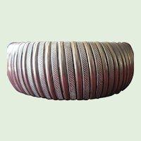 Vintage Brass Striped Stretch Cuff Bracelet
