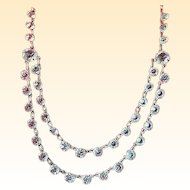 Crystal and Silver Antique Two-Tiered Necklace