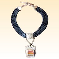 Gold-Filled Agate and Mother of Pearl Watch Fob on Black Woven Ribbon Chain
