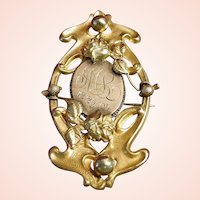Art Nouveau Gold and Brass Christmas Brooch Dated 12-25-04