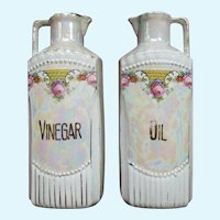 Vintage German Iridescent Porcelain Oil and Vinegar Lustreware Decanters