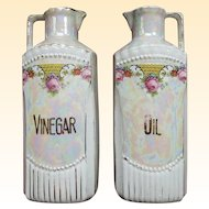 Vintage German Iridescent Porcelain Oil and Vinegar Lustreware Decanters