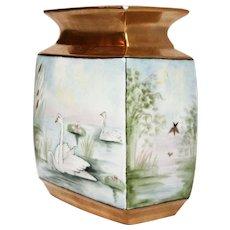 Art Deco Signed Hand-Painted Porcelain Swan Vase C.1930 Arzberg, Bavaria