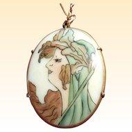 Art Nouveau Hand-Painted Porcelain Portrait of Lady on Chain