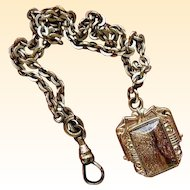 19th Century Gold-Filled Goldstone and Enamel Watch Fob on Chain