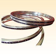 Art Deco 1920's Silver and Amethyst French Paste Bangle Bracelet