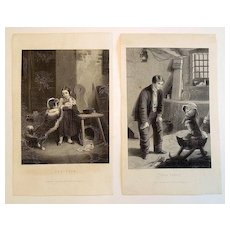 19th Century Engravings  'The Pets' and 'Eyes Front', A Pair