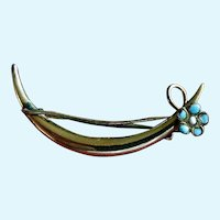 Antique Gold-Filled Turquoise Enamel Flower Crescent Pin