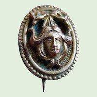 Brass Art Nouveau Lady Lapel Oval Brooch Pin
