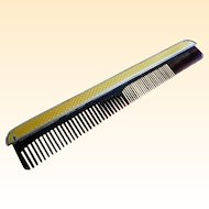 Turn of the Century Yellow French Enamel, Sterling and Tortoise Comb