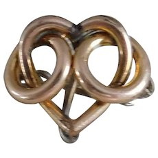 Gold Filled Victorian Heart Watch Pin Circa 1875