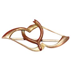 Victorian Gold-Filled Wishbone and Heart Brooch Pin Circa 1875