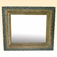 Antique19th Century Green and Gold Leaf Decorative Mirror