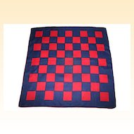 Mid Century Mod Navy and Red Checked Racing Scarf