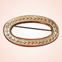 Victorian Gold-Filled Oval Brooch/Pin