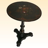 1850's Papier Mache and Mother of Pearl Inlaid Tilt Top Table