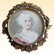 Fabulous Antique Woman Portrait Pin in Frame - PS Co.