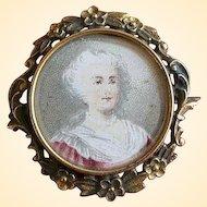 Fabulous Antique Woman Portrait Pin in Frame - PS Co.