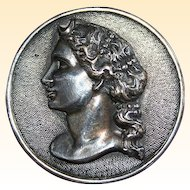 Sterling Silver Woman Profile Brooch Pin