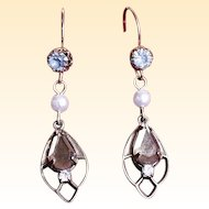 Vintage Topaz and Blue Stone Drop Earrings