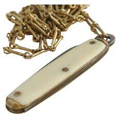 Mini Vintage Bone Pocket/Fruit Knife on Chain