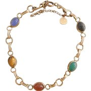 Mid Century 1960's Gold Filled D'Or Semi-Precious Vintage Scarab Bracelet