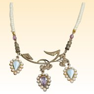Yellow Pearl and Amethyst Leaf Vintage Costume Choker Necklace