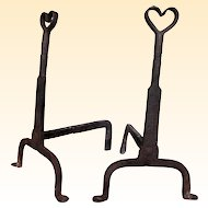 Vintage Artisan Hand-Crafted Iron Heart Andirons - A Pair