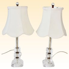 Mid Century Modern Etched Glass and Plexiglass Boudoir Lamps - A Pair