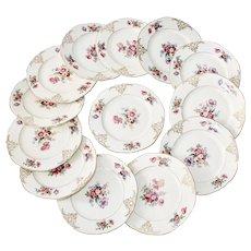 Floral Porcelain Czechoslovakian Hallmarked Dessert Plates - Set of 13