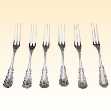 Fabulous Antique Sterling Silver Appetizer Hors d'Oeuvre Forks - Set of 6