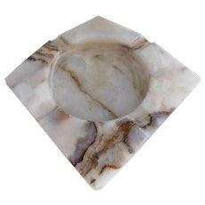 Marvelous Mid Century Cream Marble Ashtray/Ash Receiver