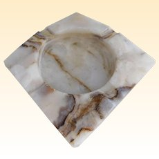 Marvelous Mid Century Cream Marble Ashtray/Ash Receiver