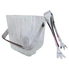 Mid Century Textured Hoya Glass Ice Bucket and Tongs