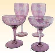Antique Etched Crystal Wine Glasses & Champagne Coupes - Set of 2