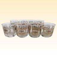 Mid Century TWA International Countries Cocktail Glasses - Set of 8