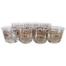 Vintage Mid Century TWA International Cocktail Glasses - Set of 8 Countries