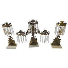 Antique Victorian Bronze Girandole Candelabra Set - 3 Pc.