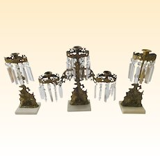 Antique Victorian Bronze Girandole Candelabra Set - 3 Pc.