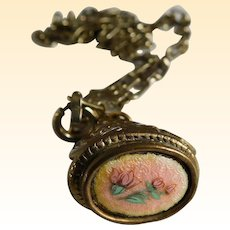 Vintage French Enamel Watch Fob Necklace