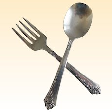 Heirloom Sterling Baby Spoon and Fork Damask Rose