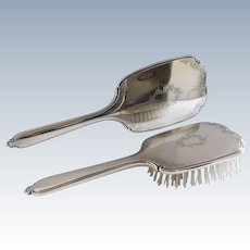Sterling Silver Mid Century Hand Mirror and Brush Set