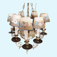 Hand-Painted Floral Ceramic & Bronze Vintage Chandelier w/ Seven Arms