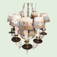 Hand-Painted Floral Ceramic & Bronze Vintage Chandelier w/ Seven Arms